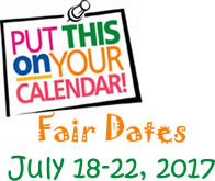 Fair Dates: July 18-22, 2017